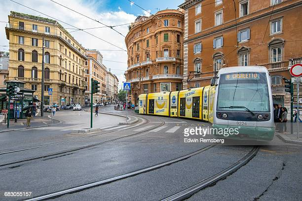 Tram on the tracks
