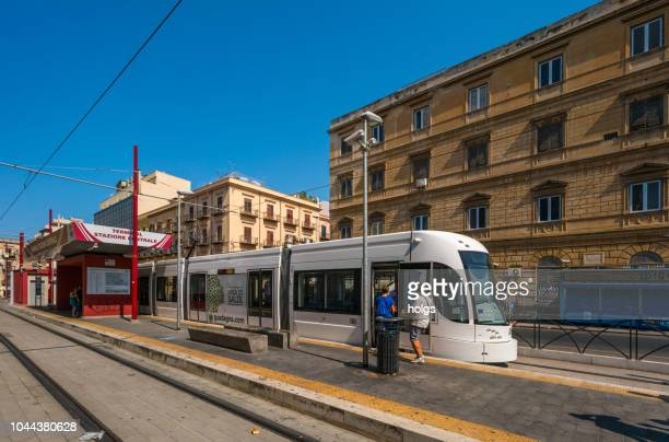 tram or rail vehicle in the terminal tramway station - palermo foto e immagini stock