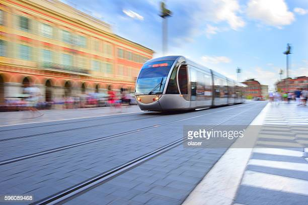 tram, panning, motion and zoom blurred in nice - tram stockfoto's en -beelden