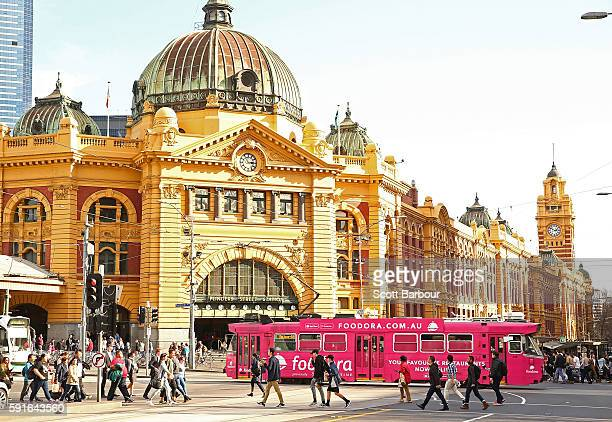 A tram passes in front of Flinders Street Railway Station on August 18 2016 in Melbourne Australia Melbourne has been named as the world's most...