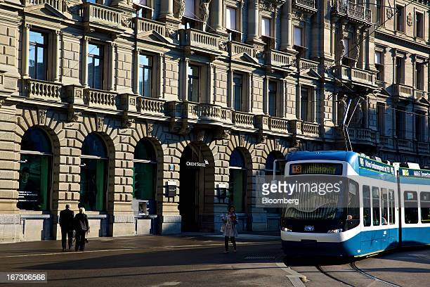 A tram passes the headquarters of Credit Suisse Group AG in Zurich Switzerland on Wednesday April 24 2013 Credit Suisse Group AG the second biggest...