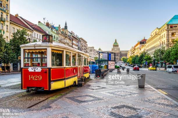 tram restaurant in wenceslas square in prague. czech republic - prague stock pictures, royalty-free photos & images