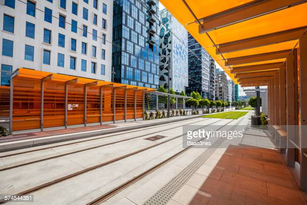 Tram stop at Barcode district in Oslo, Norway