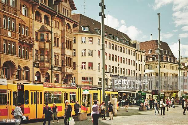 tram stop at the marketplatz, basel switzerland - basel switzerland stock pictures, royalty-free photos & images