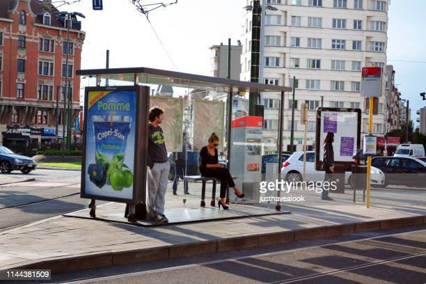 tram stop in brussels - belgium stock pictures, royalty-free photos & images