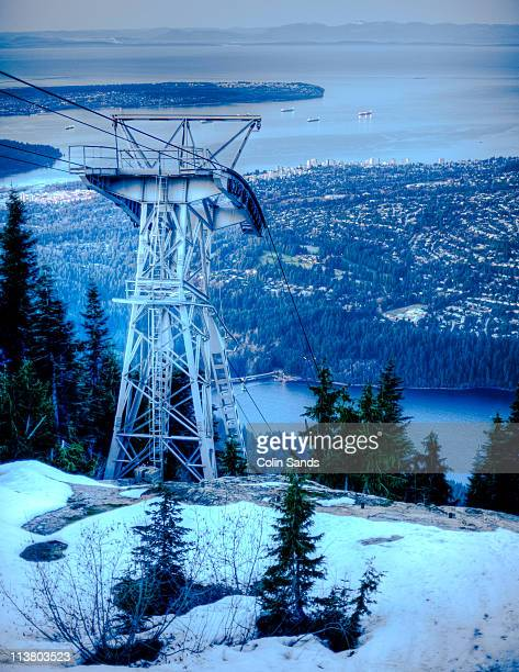 tram tower - grouse mountain stock photos and pictures