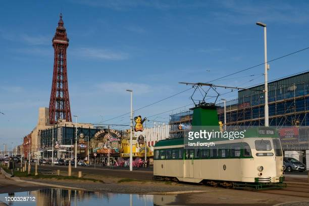 A tram travels along Blackpool seafront on January 18 2020 in Blackpool England Warmer weather has taken over following the recent arrival of Storm...