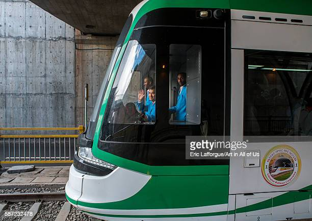 Tram with a chinese driver in ethiopian railways constructed by china addis abeba region addis ababa Ethiopia on March 7 2016 in Addis Ababa Ethiopia