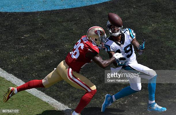 Tramaine Brock of the San Francisco 49ers defends a pass to Ted Ginn of the Carolina Panthers in the 1st quarter during the game at Bank of America...