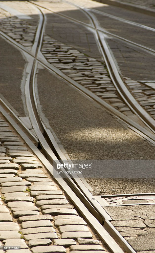 Tramlines and cobbled street : Stock Photo