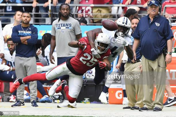 Tramon Williams of the Arizona Cardinals blocks a pass intended for Corey Davis of the Tennessee Titans in the first half of the NFL game at...
