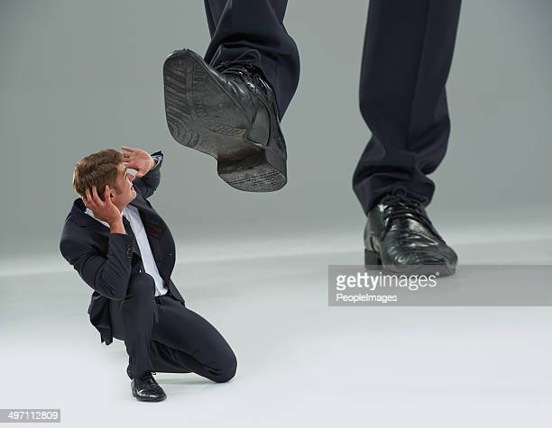 trampled by the man! - big foot stock photos and pictures