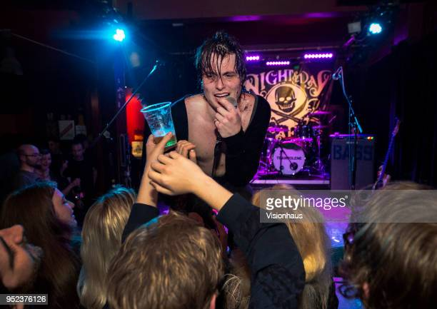 Trampolene with lead singer Jack Jones perform at the Night and Day Cafe on April 26 2018 in Manchester England