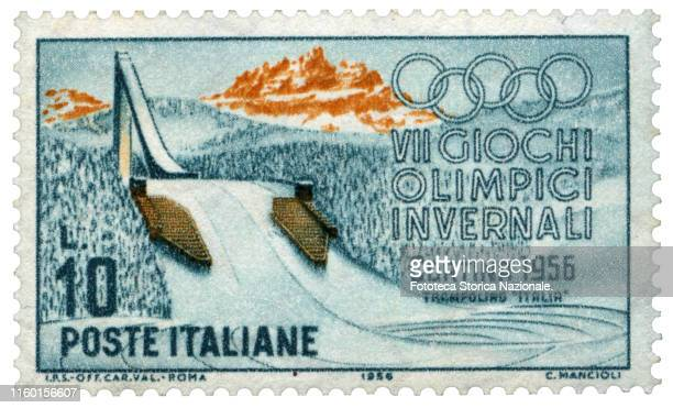 Trampoline Italy Postage stamp from the series dedicated by the Italian Post Office to the 7th Winter Olympic Games held in Cortina D'Ampezzo from 26...