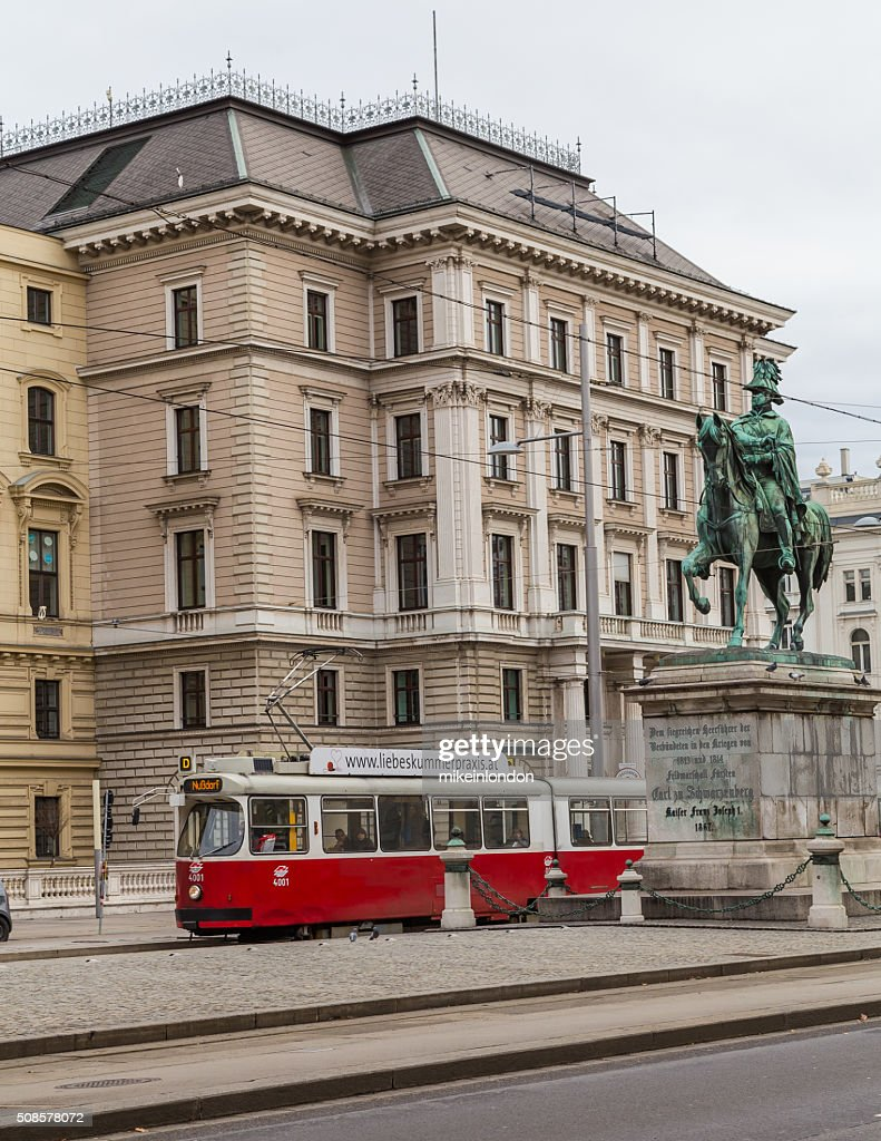 Trams and Buildings along Scwarzenberglatz in Vienna : Stock Photo