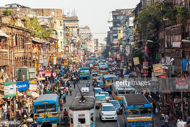 trams, buses & traffic kolkata, india - kolkata stock pictures, royalty-free photos & images