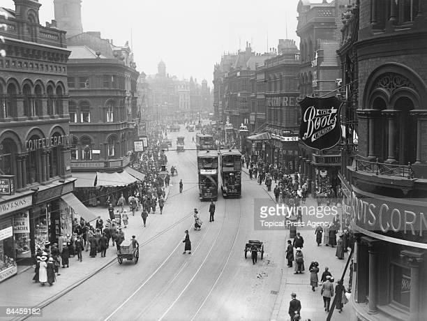 Trams on Boar Lane Leeds Yorkshire July 1921