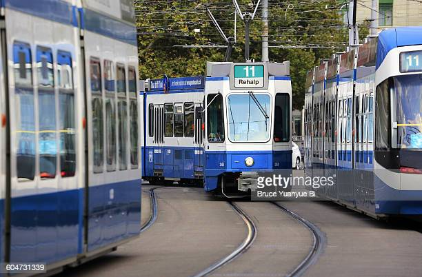 Trams on the street of Zurich