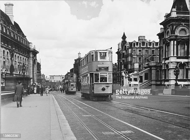 Trams on Westminster Bridge June 12th 1949