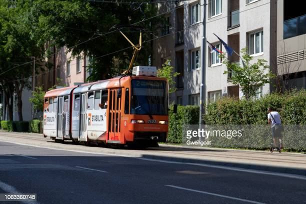 tramway in bratislava - gwengoat stock pictures, royalty-free photos & images