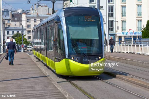 tramway in brest - finistere stock photos and pictures