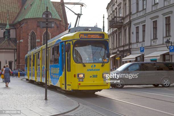 tramway in krakow - gwengoat stock pictures, royalty-free photos & images