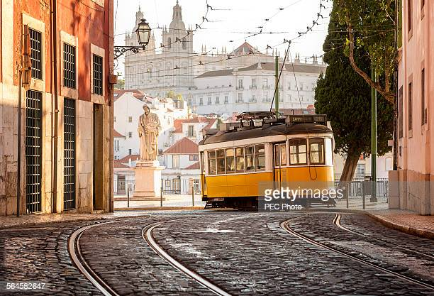 tramway in lisbon - portugal stock pictures, royalty-free photos & images