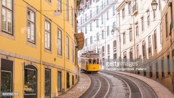 tramway in lisbon. - lisbon portugal stock pictures, royalty-free photos & images
