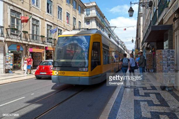 tramway in lisbon - gwengoat stock pictures, royalty-free photos & images