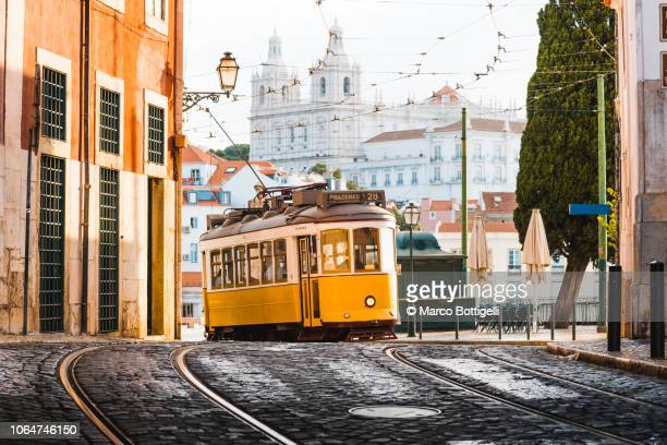 tramway in lisbon, portugal - lisbon stock pictures, royalty-free photos & images