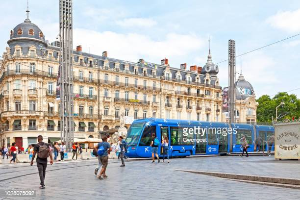 tramway in montpellier - montpellier stock pictures, royalty-free photos & images