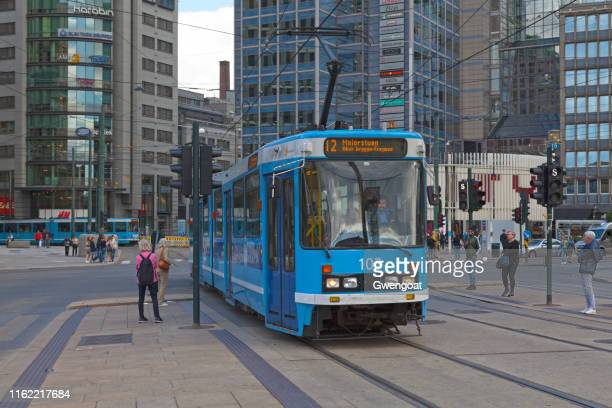 tramway in oslo - gwengoat stock pictures, royalty-free photos & images