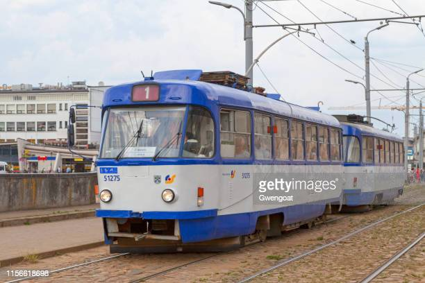 tramway in riga - gwengoat stock pictures, royalty-free photos & images