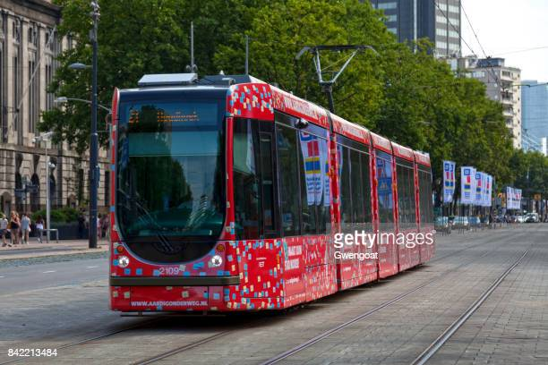 tramway in rotterdam - gwengoat stock pictures, royalty-free photos & images
