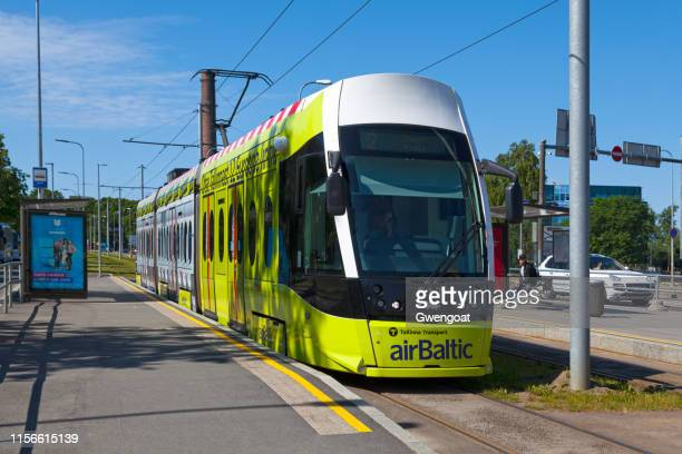 tramway in tallinn - gwengoat stock pictures, royalty-free photos & images