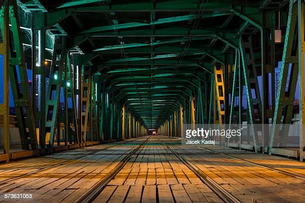 Tramway  in the Gdanski Bridge in Warsaw