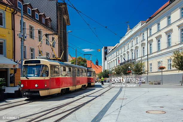 Tramway in the old town of Bratislava, Slovakia