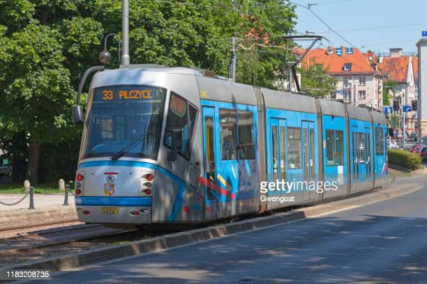 tramway in wroclaw - gwengoat stock pictures, royalty-free photos & images
