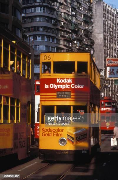 Tramway à l'impériale dans une rue de Hong Kong en 1989