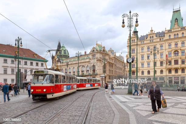 tramway near the municipal house in prague - gwengoat stock pictures, royalty-free photos & images