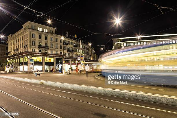 Tramway rushing at night in Zurich, Switzerland