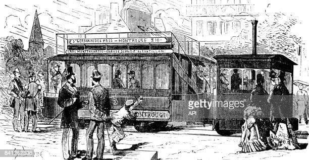 Tramway à vapeur à Paris France en 1880