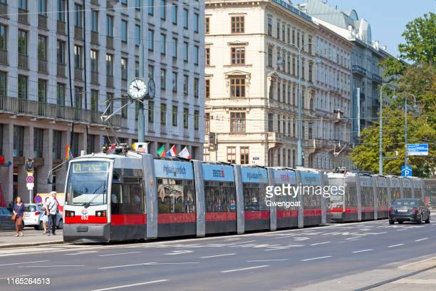 tramways in vienna - gwengoat stock pictures, royalty-free photos & images