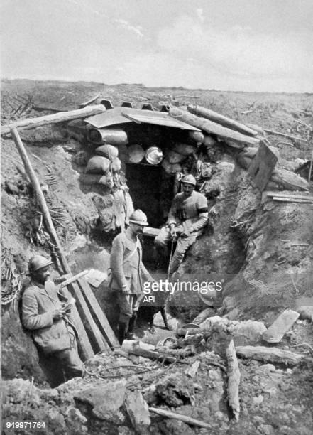 Tranchée dite 'Le Chemin des Dames' lors de la Première Guerre Mondiale en 1917 France