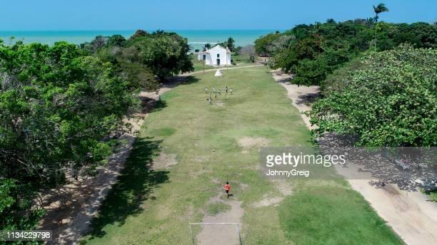 trancoso quadrado football game aerial view - trancoso imagens e fotografias de stock