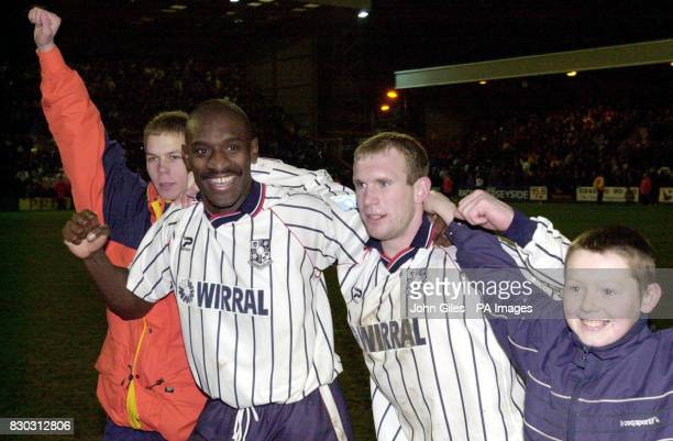 Tranmere Rovers captain Wayne Allison is mobbed whilst celebrating victory over Sunderland at the end of their FA Cup 4th round football match at...