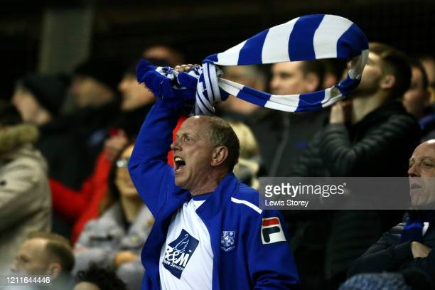 Tranmere Rovers fan celebrates his sides victory following the Sky Bet League One match between Blackpool and Tranmere Rovers at Bloomfield Road on...