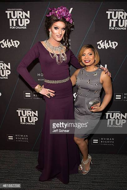 Trannika Rex and Precious Davis attend W Hotels and Jennifer Hudson Turn It Up For Change to Benefit HRC at W ChicagoLakeshore on January 15 2015 in...