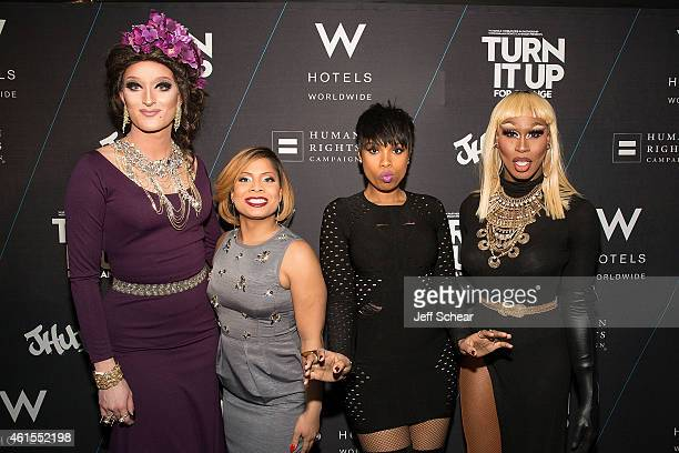 Trannika Rex Precious Davis Jennifer Hudson and Shea Coulee attend W Hotels and Jennifer Hudson Turn It Up For Change to Benefit HRC at W...