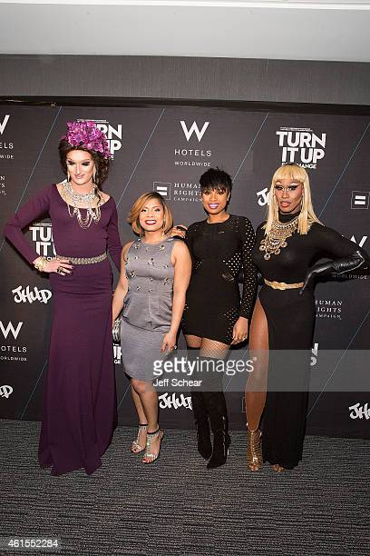 Trannika Rex, Precious Davis, Jennifer Hudson, and Shea Coulee attend W Hotels and Jennifer Hudson Turn It Up For Change to Benefit HRC at W...